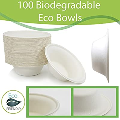 100 Biodegradable Eco Friendly Sugarcane Bowls, 12 OZ Bagasse Plant Based Compostable Disposable, Alternative to Paper and Foam Bowls