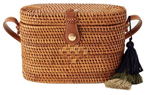 "Oval Straw Bag Purse for Women   Hand Woven Wicker Cylinder Rattan Crossbody Handbags (9"" Brown)"