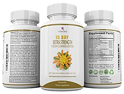 DETOX AND COLON CLEANSE FOR WEIGHT LOSS, Extra Strength with Natural Laxatives, Fiber, Acidophilus, Promotes Healthy Bacteria in Interstine
