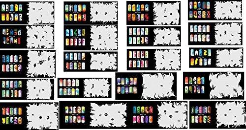 ABESTAIR Reuseable Airbrush Nail Art Stencil 400 DESIGNS - 20 Template Sheets (Airbrush Design Nail Art Stencils)