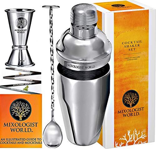 Professional Cocktail Shaker Bar Set – 24 oz Martini Shaker with Measuring Jigger and Mixing Spoon...