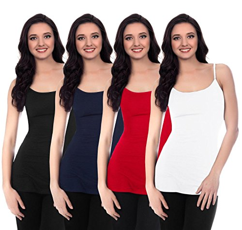 Seamless Spaghetti Strap Tank Tops for Women One Size Camisole One Size4 Pk Black/White/Navy/Red
