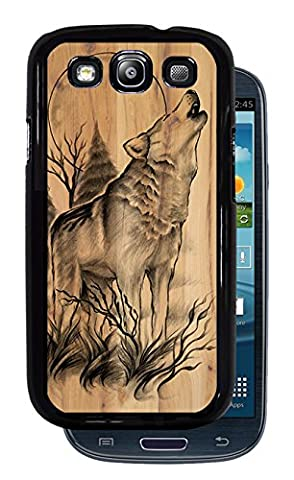 Native American Wolf Howling at Moon - Black Protective Rubber Cover Samsung Galaxy S3 i9300 (Galaxy S3 Case Native)