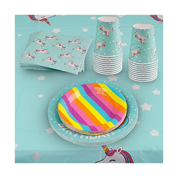 102 Piece Rainbow Unicorn Party Supplies Set Including Banner, Plates, Cups, Napkins, Straws, and Tablecloth, Serves 20 4