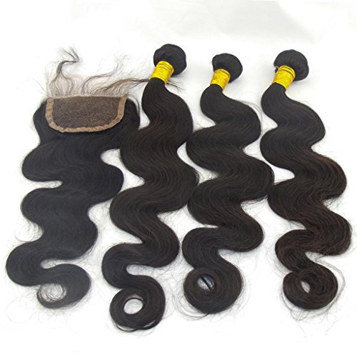 LaNova Beauty Girl's Wholesale Human Hair Distributors,Body Wave Hair Weft 3pcs 18inch and 1pc Lace Closure (4*4) 16inch, Natural Color,4pcs/lot