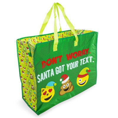Reusable Christmas Large Gift Tote Bag, Zippered - Jumbo - for Gift Wrap, Shopping, Transporting Gifts (Emoji Santa Got Your Text)