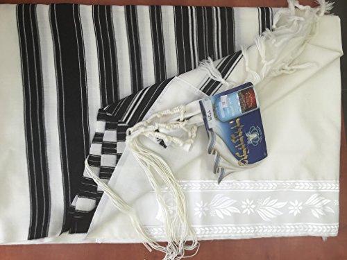 100% Wool Tallit Prayer Shawl Model CHABAD Size 46'' L X 67'' W 50-H by Talitania (Image #1)