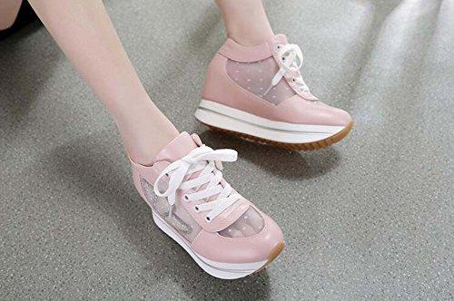 zapatos grueso deportes casual mujeres estudiantes malla Los muffins mujeres de de dentro del inferior las parte rosa los transpirable aumento de Zapatos mujer n76qRH10q