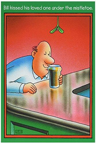 NobleWorks - Tarjeta de felicitación de Navidad con sobre de 12,7 x 17,8 cm, diseño de cerveza besada con texto en inglés...
