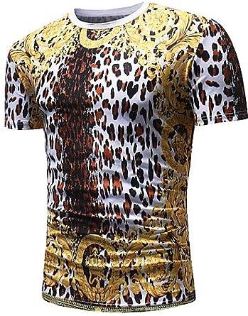 Camiseta básica/Punk/de algodón gótico para Hombre - Lunares/Leopardo/Cuello Redondo Animal Gold XL/Manga Corta/Verano, Oro, XL: Amazon.es: Ropa y accesorios