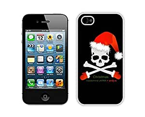 Personalized Christmas Skull White iPhone 4 4S Case 1