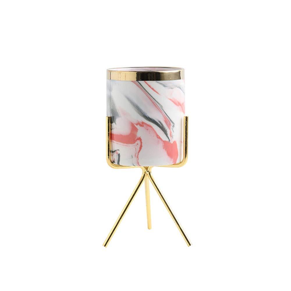 JINZHENGYAOYE Nordic Style Ceramic Pen Holder, Creative Storage Tank Decoration, Pink Pattern High Flower Pot, Multi-Function Storage Barrel (Color : Style C) by JINZHENGYAOYE