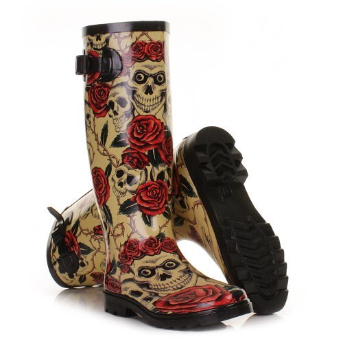 Womens Skulls and Roses Wellies Festival Boots SIZE 7 bMy3JRuY