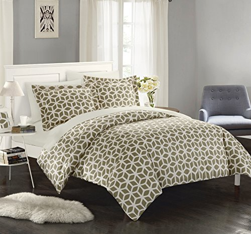 Chic Home Elizabeth 6 Piece Reversible Duvet Cover Set Geometric Diamond Print Design Bed in a Bag Bedding Zipper Closure - Sheets Decorative Pillow Sham Included Twin Taupe