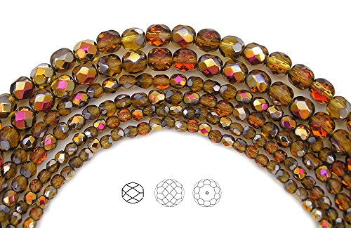4mm (102) Topaz Santander coated, Czech Fire Polished Round Faceted Glass Beads, 16 inch (Topaz Round Firepolish Glass Bead)
