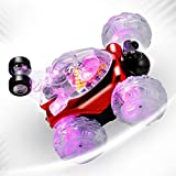 YKS Invincible Tornado Twister - Multifunctional Rechargeable RC Acrobatic Stunt Car with LED Lights and Music (Red)