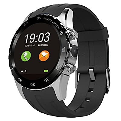 Generic Smart Watch Wristwatch Phone Mate Round Display with Camera Heart Rating Daylight Saving Backlight LED NFC for Android - Black/Silver