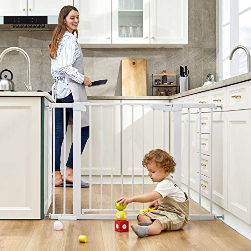 """51gMHrgLKXL - Cumbor 46"""" Auto Close Safety Baby Gate, Extra Tall And Wide Child Gate, Easy Walk Thru Durability Dog Gate For The House, Stairs, Doorways. Includes 4 Wall Cups, 2.75-Inch And 8.25-Inch Extension"""