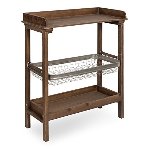 Kate and Laurel Yanisin Farmhouse Chic 3-Tier Work Table with Galvanized Storage Basket, Warm Rustic Brown Review