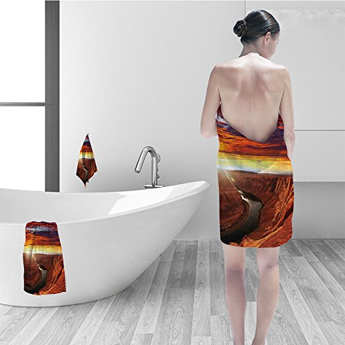 Price comparison product image Nalahomeqq Bath towel set Lake House Decor Fantastic Scenery of the River Between Rock Cliffs Mystical Sky Mod Art Image Bathroom Accessories Orange Yellow
