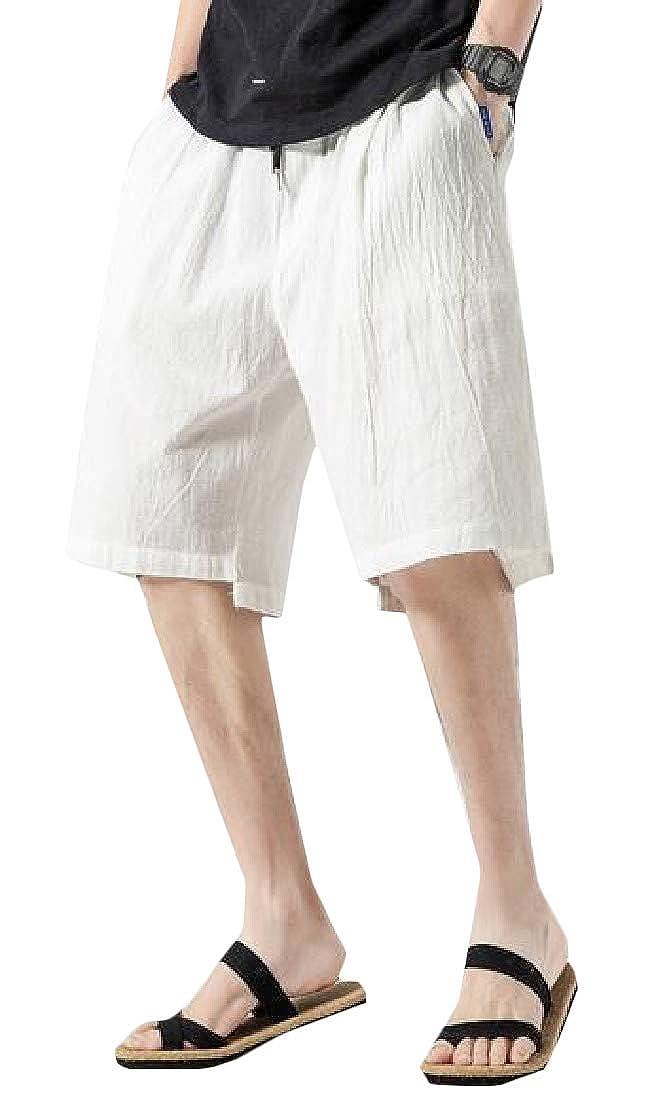Wofupowga Mens Casual Elastic Waist Cotton Trunks Board Loose Sport Shorts
