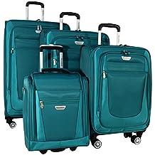"Ricardo Eureka 4 Piece Deluxe Superlight Luggage Set: 30"", 26"", 21"", and Underseat Bag (Teal)"