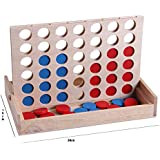 Wooden Games, Travel Board Game Foldable Line up 4 Toy For Fun Four in Row Kids Games With Family intelligence Basic Skills Development Toys …