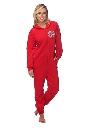 3e8d2642d4bb Monogrammed Adult Unisex Fleece Christmas Lounger - Red Onesie at ...