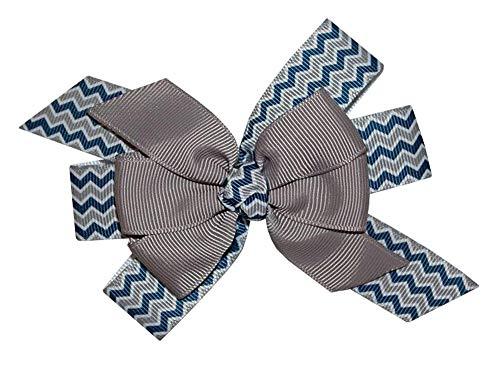 WD2U Girls Navy & Silver Chevron Football Team Colors Hair Bow Alligator Clip US]()