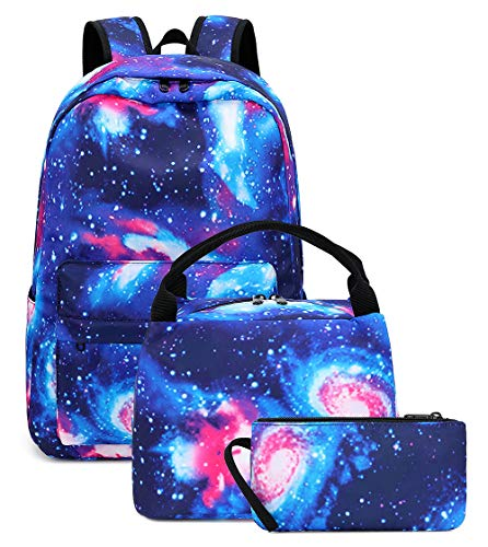 Galaxy Students Backpack Casual School Bookbag for Teens Girls Boys (E0087-Blue)