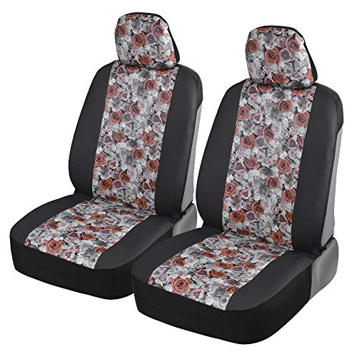 BDK FreshProtect Dusty Rose Sideless Fun Graphic All Protective Front Seat Covers for Auto Cars -Sedan Truck SUV Minivan - Non Fade - Universal 2 Piece