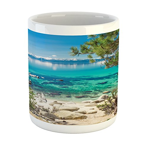 Ambesonne Nature Mug, Lake Tahoe Snowy Mountain Reflection on Clear Water Rocky Shore View, Printed Ceramic Coffee Mug Water Tea Drinks Cup, Pale Blue Green Eggshell