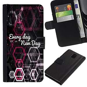All Phone Most Case / Oferta Especial Cáscara Funda de cuero Monedero Cubierta de proteccion Caso / Wallet Case for Samsung Galaxy Note 3 III // BIBLE Every Day Is A New Day