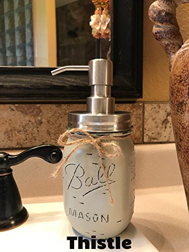 Soap Dispenser Mason Canning JAR Hand PAINTED & Distressed Ball Pint ~ STAINLESS STEEL ~ Kitchen, Bathroom, Lotion or Soap ~Gray Grey Seafoam Light Blue Turquoise Pewter Green Cream Tan Brown - Hand Hutch Painted