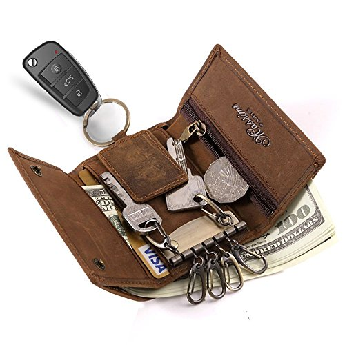 Anpress Slim Compact Leather Key Holder Wallet Pouch Retro Genuine Leather Handmade Three-Fold Keychain Key Case Bag Leather Car Key Case with 6 Hooks & 1 Car Key Hook Men (Six Hook Key Case)