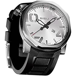 SISU Bravado Q2 Quartz Men's Watch, Brushed Silver Dial, Rubber Strap (Model: BQ2-50-RB)