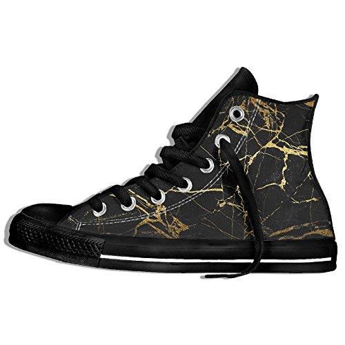Zapatillas De Deporte Altas Clásicas Zapatos De Lona Antideslizante Líneas Negras De Oro Caminar Casual Para Hombres Mujeres Negro