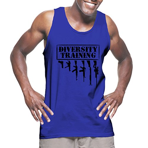 Royal Blue Training Top - Mens Diversity Training - Hangin Guns Tank Top T-shirt (Large, ROYAL BLUE)