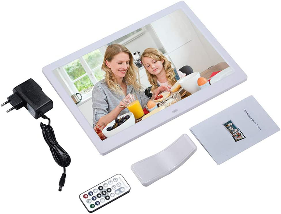 Dayangiii Digital Photo Frame 13 inch Electronic Photo Frame USB Digital Picture Frame with Remote Control Motion Sensor SD Card Video Player,White,US