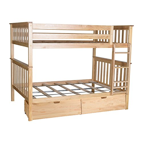 Max & Lily Solid Wood Full over Full Bunk Bed with Under Bed Storage Drawers, Natural