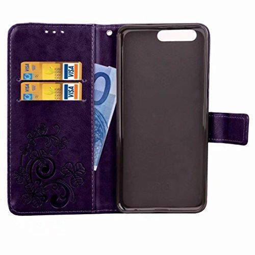 Yiizy Huawei P10 Plus Custodia Cover, Tre Foglia Erba Design Sottile Flip Portafoglio PU Pelle Cuoio Copertura Shell Case Slot Schede Cavalletto Stile Libro Bumper Protettivo Borsa (Porpora