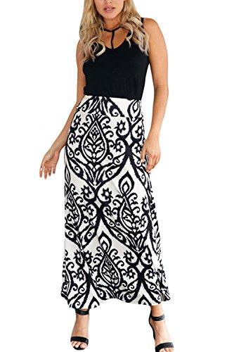 Les Femmes Taille Haute des Maxi Jupe Floraux Vintage De Bohme Occasionnels  Long White