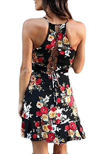 Jaycargogo Des Femmes De Dos Sans Manches Croix V-cou Floral D'une Ligne Robe Noire