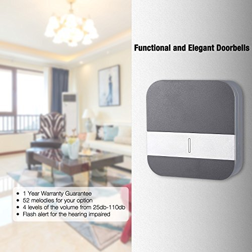 Wireless Doorbell, Included Battery, Plug in Cordless Door Chime Kit, Support MP3 Doorbell with 1000-feet Range, 52 Chimes, Waterproof Button, appropriate for Plug in Door Entry Bell, - Topgio (Size 2, Grey & White)