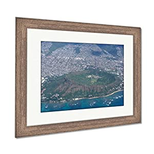 Ashley Framed Prints Aerial Of Diamond Head Crater Kaimuki Kahala And Honolulu, Wall Art Home Decoration, Color, 34x40 (frame size), Rustic Barn Wood Frame, AG6404662