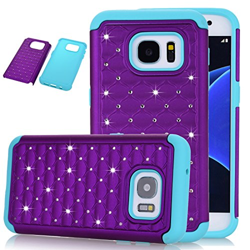 Galaxy S7 Case, Kmall 2in1 Bling Crystal Glitter Diamond Rhinestone Studded Impact Resistant Heavy Duty Hybrid Dual Layer Full-Body Shockproof Protective Cover Skin Shell For Samsung S7 Purple/Teal