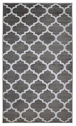 Sultansville Trellisville Collection Modern Geometric Lattice Trellis Design Vibrant and Soft Area Rug, Grey, 94 W x 118 L