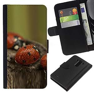 JackGot ( Bozhi korovki Kapli boke ) LG G3 la tarjeta de Crédito Slots PU Funda de cuero Monedero caso cubierta de piel