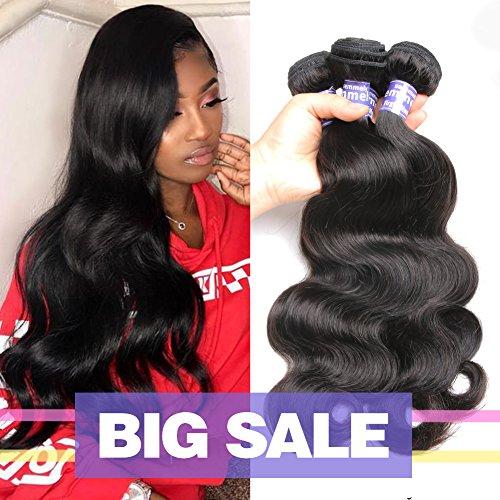 Semmely 8A Brazilian Hair 3 Bundles Body Wave 14 16 18inch Unprocessed Virgin Human Hair Bundles Weave Natural Black Color