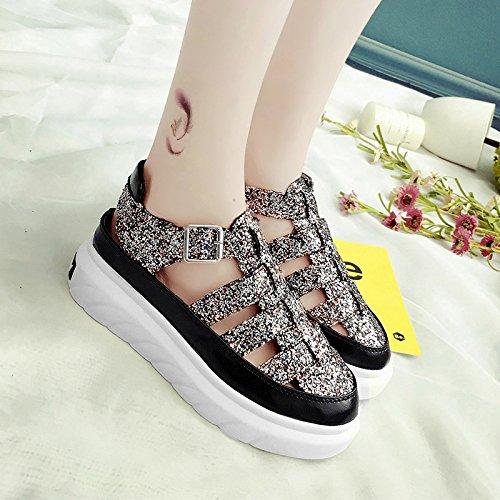 RUGAI-UE Sandalias de Verano Mujer lentejuelas hueco inferior grueso Zapatos de Estudiante Silvery